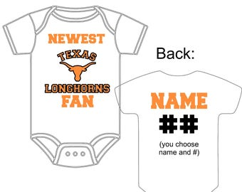 Texas baby shower etsy newest texas longhorns fan custom made personalized football gerber onesie jersey you choose name number negle Gallery