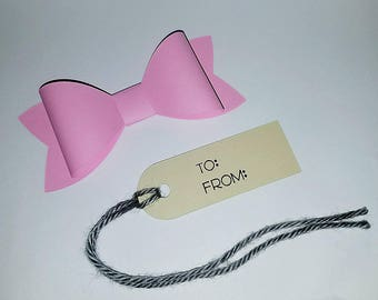 Pink Bow Tag Cardstock Bow Tag Thank You Tag Tags for any occasion Gift bow