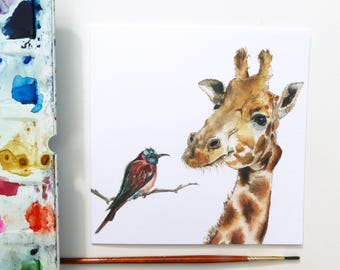 Giraffe and Bee Eater Bird Blank Greeting Card - 'Mates'