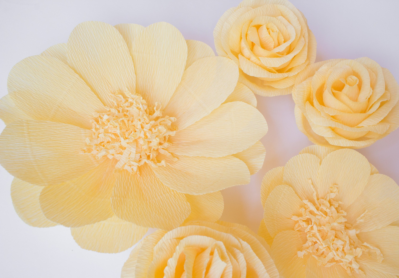 5 Crepe Paper Flowers, Baby Nursery Wall, Paper Flower Backdrop ...
