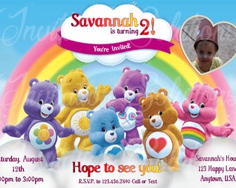 Carebears with your childs Photo Birthday party Invitation