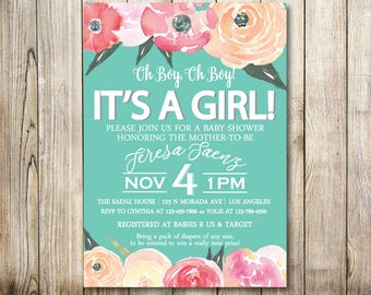 Floral Teal Baby Shower Digital Invitation