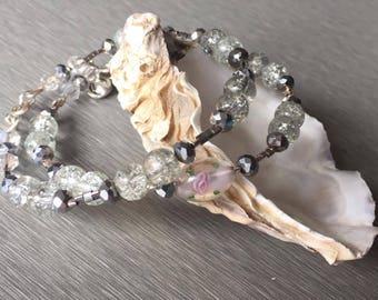 Double Glass Flower Bead Bracelet