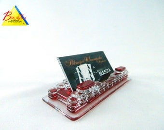 Visit cards glass-stand holder.#0219, bright red. Visit card holder.
