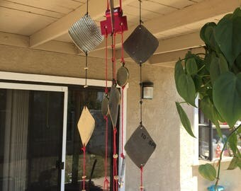 Custom hand made wind chime from drum cymbals and drum hardware