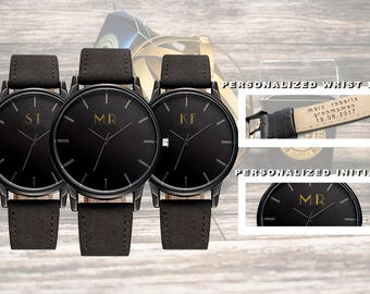 Personalized Watch - customized  initials   - Gift for Him/Her, Anniversary, Weddings gift, Groomsmen / bridesmaid