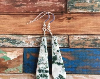 Green Tree Agate and Sterling Silver Earrings - Free U.S. Shipping