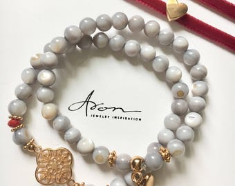 Armand set with shells beads grey