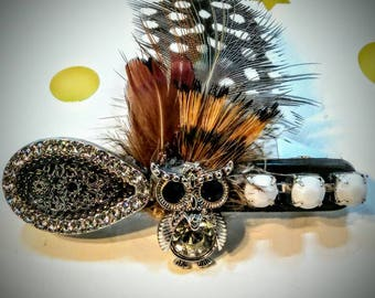 Beautiful handmade Custom French Barret clip. (Fancy feathers)(only one made)