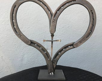 Horseshoe heart with cross