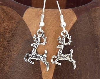 Christmas silver reindeer earrings