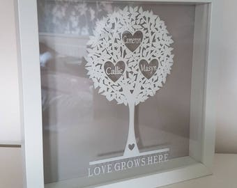 Family tree frame - family tree vinyl - family tree papercut design - birthday gift - personalised family tree - mother's day gift