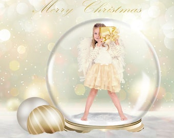 Christmas Snow Globe Digital Backdrop, X'mas Digital Background, Christmas Photo Backdrop, Gold Christmas Backdrop, Christmas Photo Props