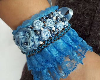 bracelet with beads and lace