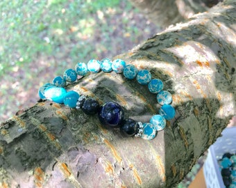 Natural Sea Sediment Jasper and Black Accent Bracelet