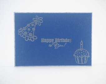 Blue Embossed Happy Birthday to You Birthday Card