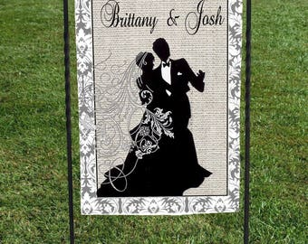 "Personalized Wedding Garden Flag, faux burlap background, black silhouette bride and groom, great for shower or wedding day, 12""x18"""