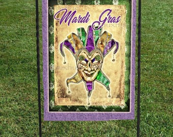"Mardi Gras Jester Garden Flag  Purple Green and Beige Background, 12""x18"", Heat Set, Hand Sewn, Mardi Gras Decoration, Garden Art"