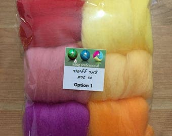 DIY Accessories Craft Felt Marino Dyed Wool Set 6 Colors 50 gr  For yours Imagination Unique Gift & Family Time
