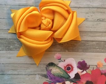 Golden Yellow Triple Loop Bow, yellow bow, sunflower yellow hair bow, boutique bow, large hair bow, bow for little girl, easter bow