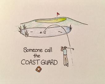 Veterans Day card, golf, coast guard