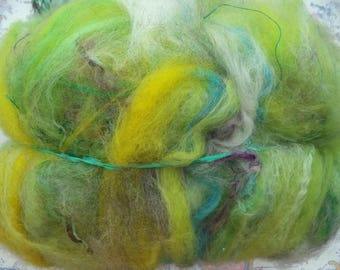 """Carded and dyed fiber / 110 g / """"Wild meadow"""""""