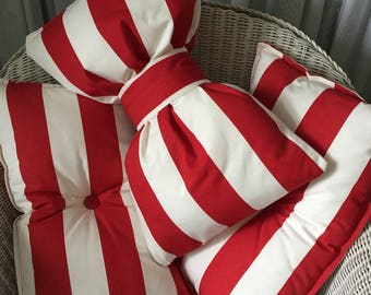 Red and White Striped Bow Cushion