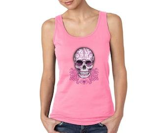 Sugar Skull Women's Tank Tops Pink Skull Tanks for Women Day of the Dead Pink Roses Skull