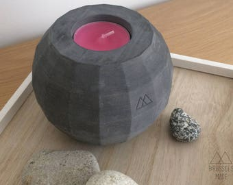 Large anthracite spherical concrete tealight / set of 1