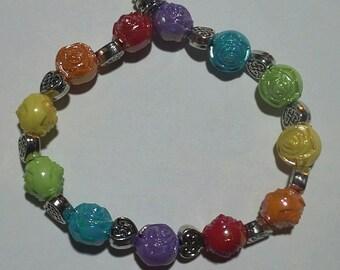 LGBT GAY PRIDE Rainbow Rose and Heart Beaded Bracelet