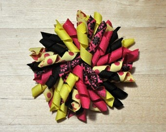 "4"" Hot Pink & Yellow Corker Bow"