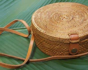 Rattan bag, hand woven, straw bag, basket bag, boho, straw bag, hand made, lined bag, tan, round bag, wicker bag