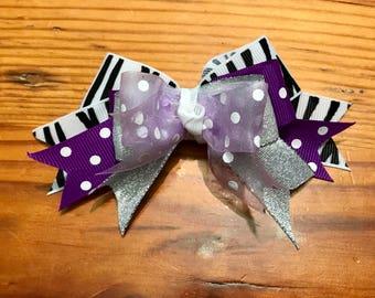 Purple Zebra hair bow, Girls hair bow