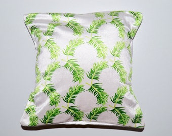 Small Square Palm Repeat Cushion With Envelope Opening, Soft, One Off Design Hand Made in England!