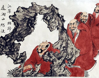 Chinese traditional painting of four red coat Arhats