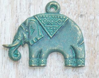 Thailand Patina Brass Elephant Pendant