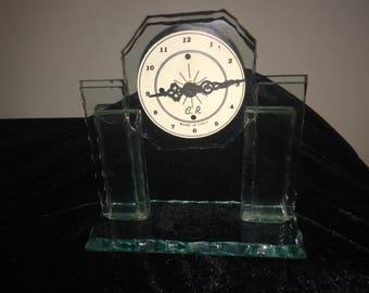 Italian Art Deco style Glass Clock