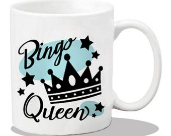 Ceramic bingo player mug, ceramic coffee mug, bingo gift items, printed coffee mugs, bingo lover gifts, bingo mug, bingo queen, coffee cups,