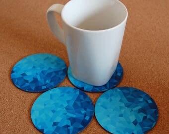 Blue coasters, housewarming gift, geometric art, hostess gift, decor, blue decor, round coaster, geometric gradient, 4 coaster set