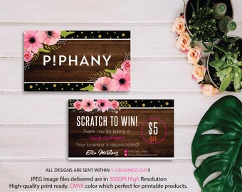Piphany Scratch to win, Piphany Scratch off cards, Piphany markting, Wooden Background, Printable Card - Digital file PP06