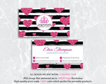 Custom Paparazzi Business Card, PERSONALIZED Paparazzi Business Card, Pink Glitter Card, Free Personalization, Printable Business Card PP17