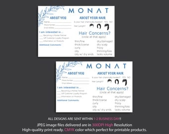 Monat Event Questionnaire - Information form - hair type, style, partner request, Monat About Your Hair Cards, Instant Download MN27