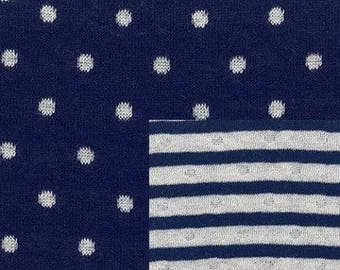 Jersey Navy white striped reverse dots