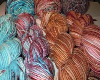 85 Wool 15 Mohair Feltable Hand Dyed . Choose One in the photo, 7 pictured here.(The 2nd from left red and blue is sold )
