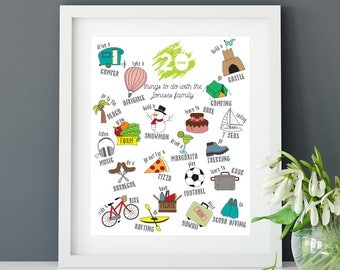Personalized 21 things to do with family - Poster - Custom - Print - Wall Art