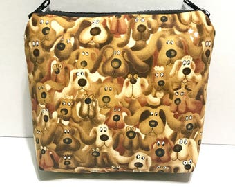 Doggy dog Medium makeup pouch, dual double zipper, cosmetic pouch, pencil pouch,