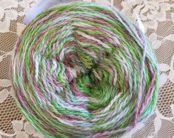 hand dyed fingerling yarn purple and green
