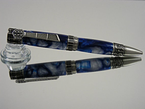 Ornate Handcrafted Music Themed Pen in Antique Pewter and Blue Lagoon Acrylic