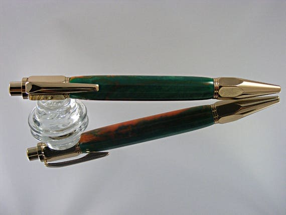 Handcrafted Industrial Pen in 24K Gold and Cantaloupe Acrylic