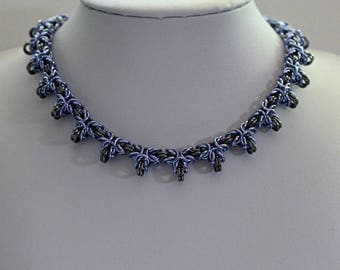 Chainmaille Necklace, Byzantine Weave, Barbed Byzantine Necklace, Choker Necklace, Purple and Gray, Chainmaille Jewelry